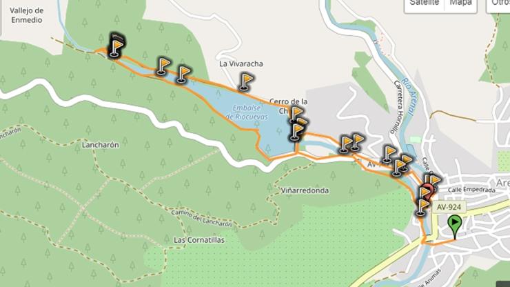 mapa ruta embalse riocuevas